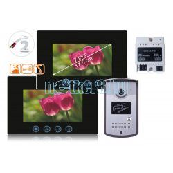 Kétvezetékes Egylakásos HD Video Kaputelefon Két Beltéris 17,8cm képátlójú Kijelzőve Kártyás Falonkívüli Kültérivel Din Sínre Szerelhető Táppal PVA-7058DM-2W-7-DUAL-DIN