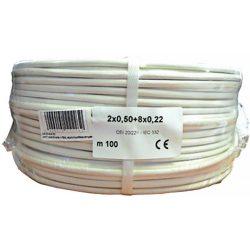 Erősített 2 x 0.5 + 8 x 0.22 réz biztonságtechnikai kábel