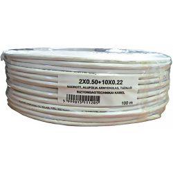 Erősített 2 x 0.5 + 10 x 0.22 réz biztonságtechnikai kábel