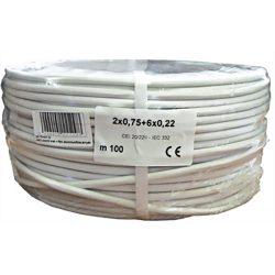 Erősített  2 x 0.75 + 6 x 0.22 réz biztonságtechnikai kábel