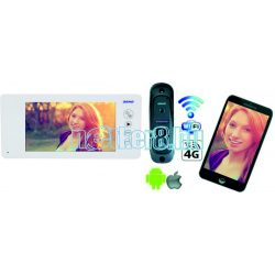 4 Vezetékes Egylakásos Szupervékony Video Kaputelefon Okostelefon Csatlakozással Fehér