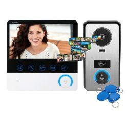 Négyvezetékes memóriás 17,5cm képátlójú video kaputelefon szett RFID falon kívüli kültérivel VDP-60