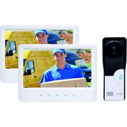 Négyvezetékes két beltéri egységes 17,5cm képátlójú video kaputelefon szett falon kívüli kültéri egységgel DPV-26-DUAL